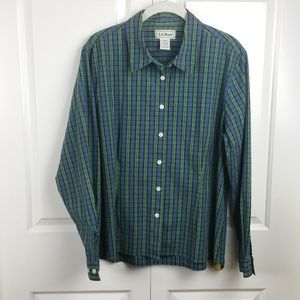 Women's L L Bean Plaid Long Sleeve Shirt LG